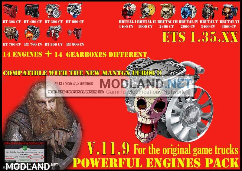 Pack Powerful engines + gearboxes V.11.9 for 1.35.x