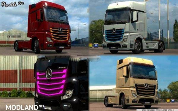 Mercedes mp4 new actros 2014 colored grill 2 mod for ets 2 for Mercedes benz truck parts