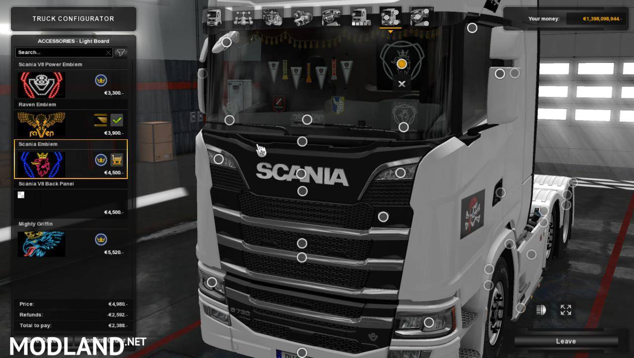 Led plate from scania old for scania s r 2016 1 photo