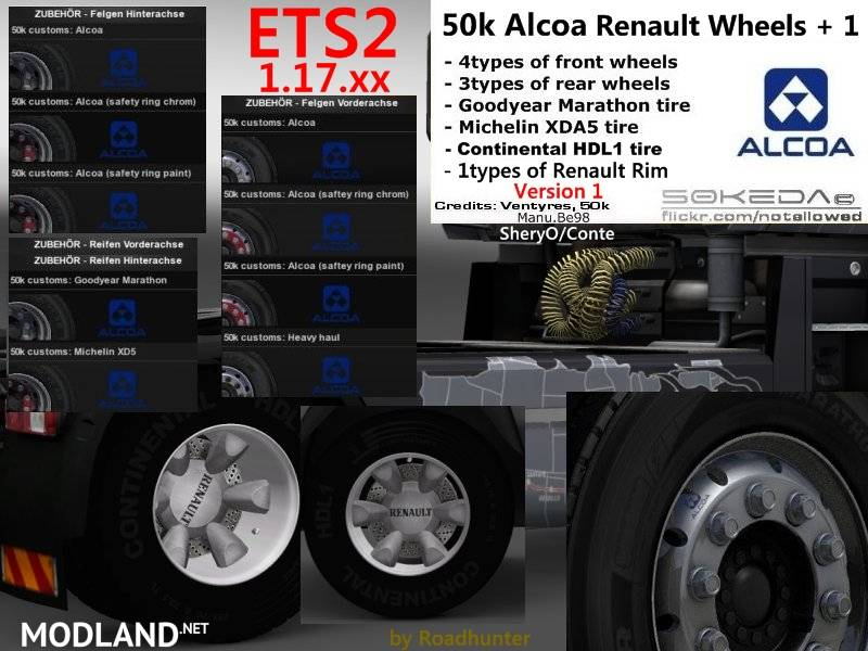 50k Alcoa Renault Wheels Pack V1 Mod For Ets 2