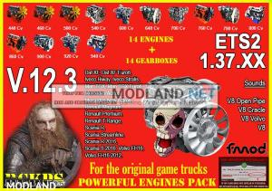 Pack Powerful Engines + Gearboxes V.12.3 for ETS2 1.37.XX, 1 photo