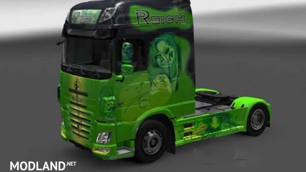 daf xf euro 6 reich green skin mod for ets 2