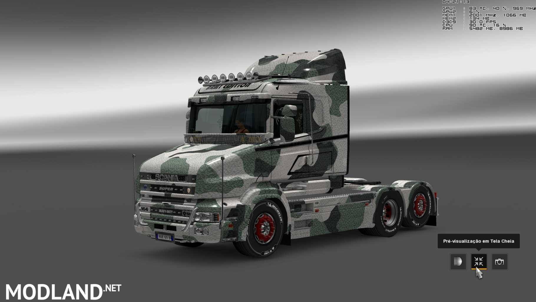 military camo paint job for rjl scanias t  t4  r  r4 mod for