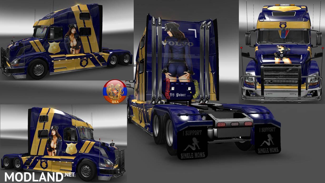 Volvo VNL780 & Trailer Doubledeck Police Style Combo Skin Packs mod for ETS 2