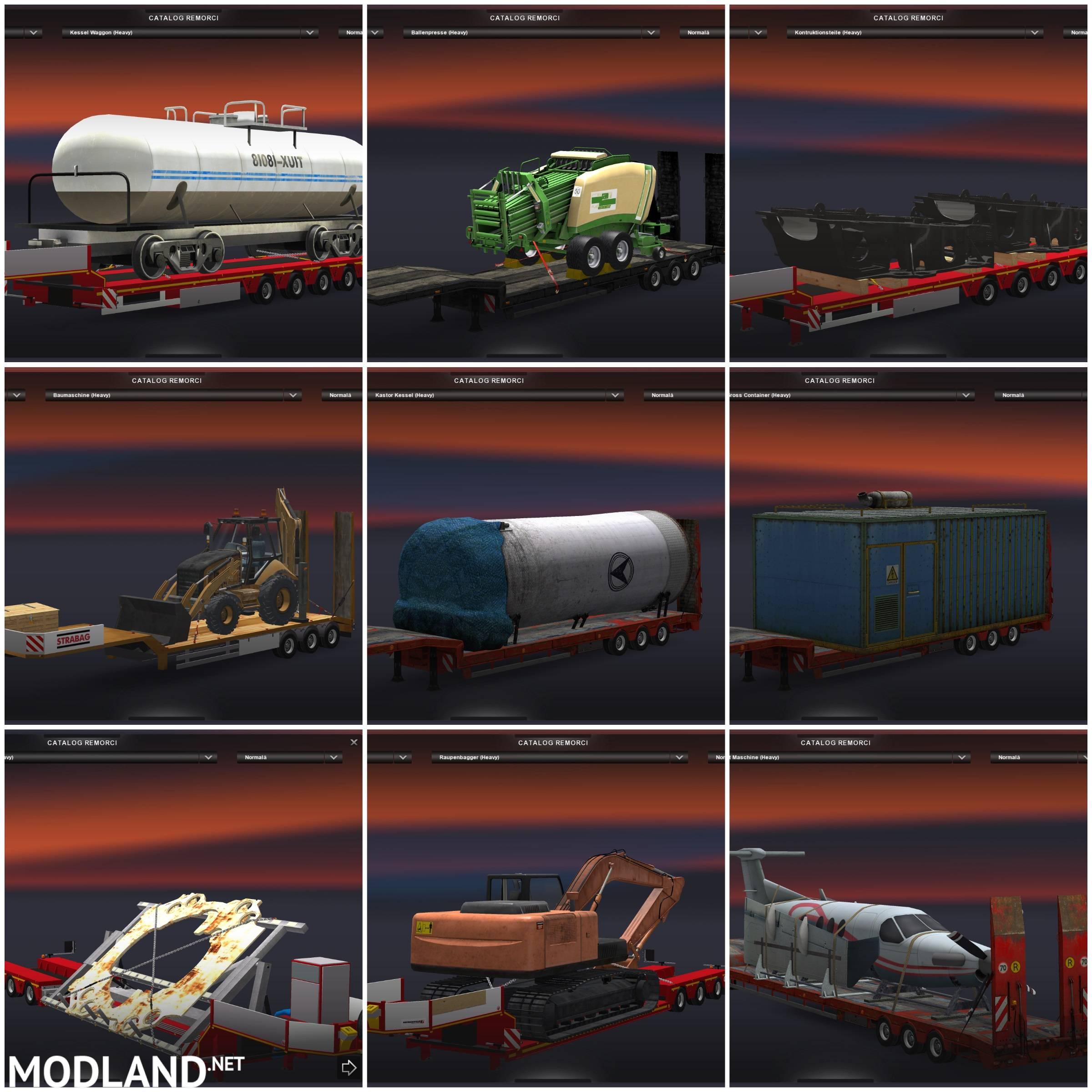 heavy cargo transportation trailers pack mod for ets 2. Black Bedroom Furniture Sets. Home Design Ideas