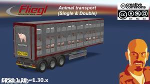 FLIEGL ANIMAL TRANSPORT TRAILER (Single & double) 1.28 - 1.30.x