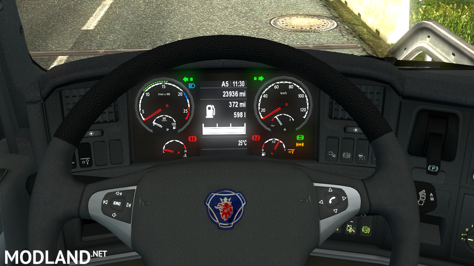 Scania high-def interior gauges & emblem mod for ETS 2