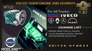 Volvo 750HP Engine And Gearbox For All Trucks V1.0 For Multiplayer ETS2 1.37, 1 photo
