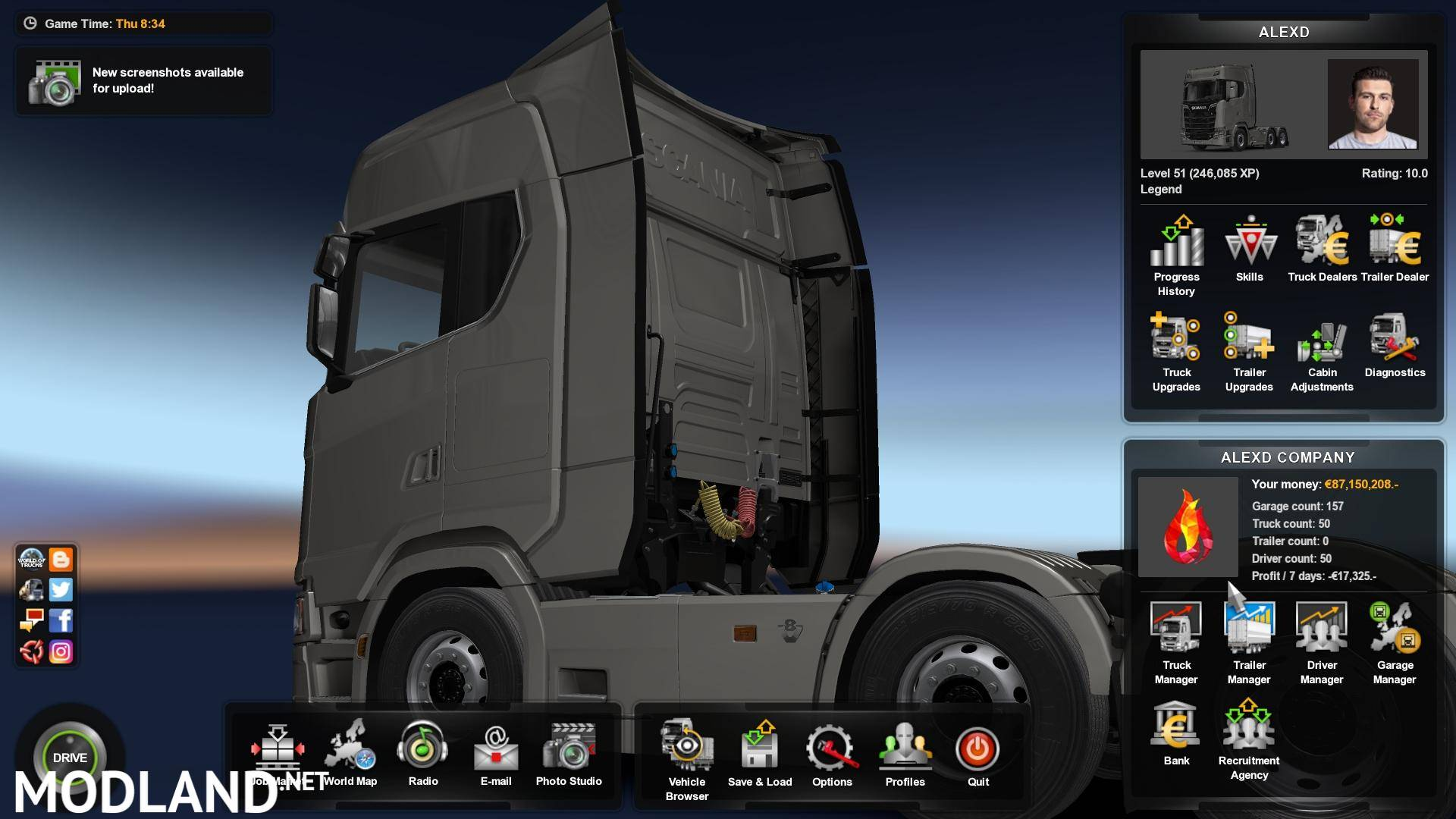 Save Game For 1 33 x – 100 % Discovered( ALL DLC ) mod for ETS 2