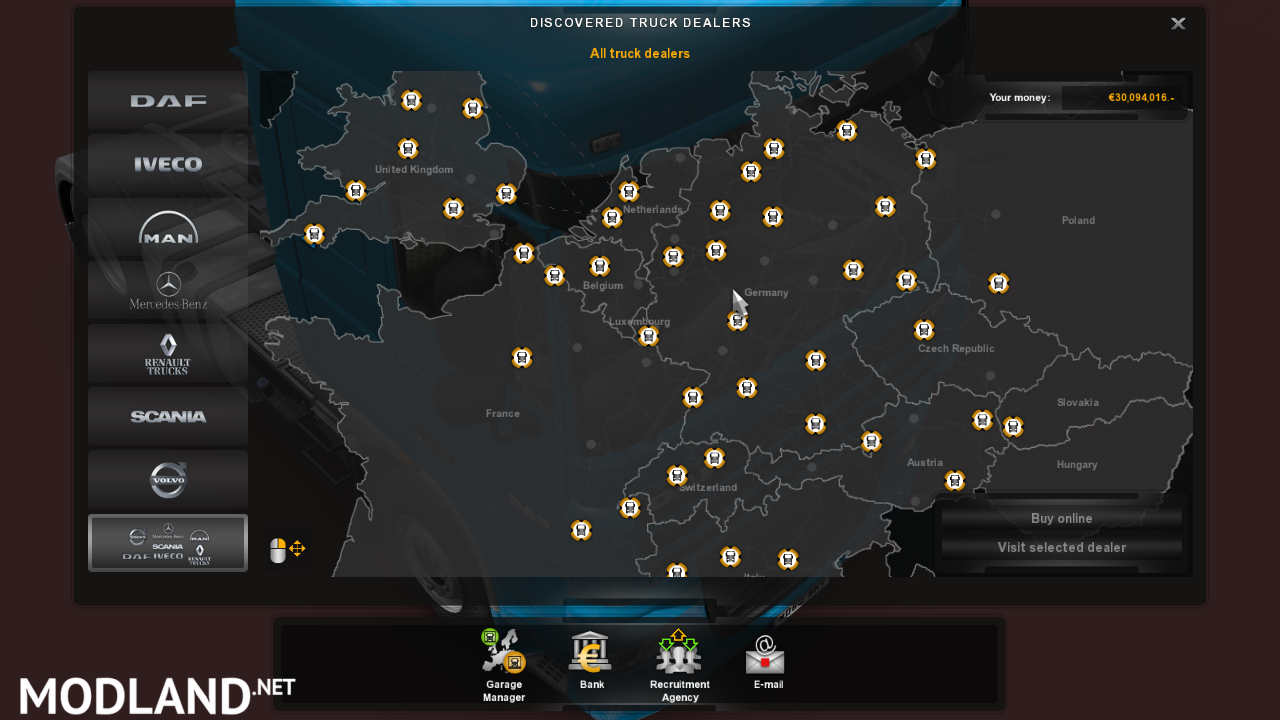 Save game unlock all dealer no dlc mod for ets 2 for Mercedes benz dealership locations
