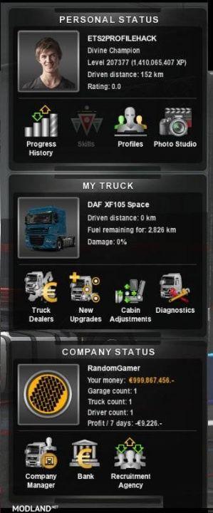 ETS2 Profile Mod Unlimited Money + High level (No DLC)