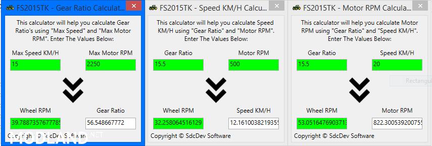 FS2015 PHYSICS CALCULATORS (MOTOR, GEAR RATIO, SPEED) V1 0