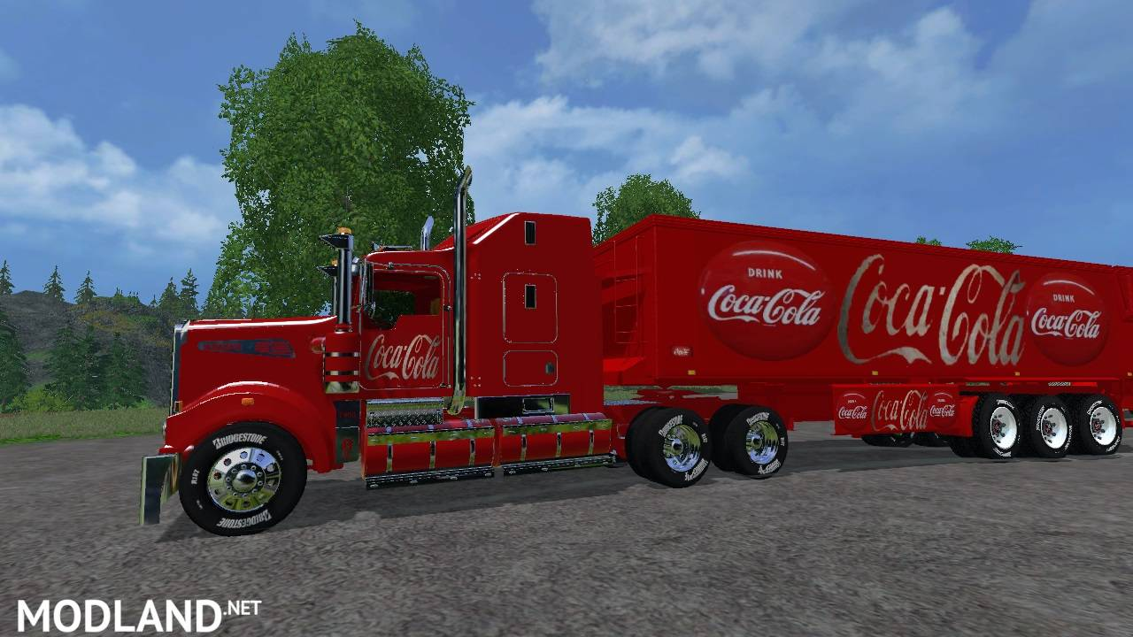 kenworth cocacola truck and cocacola trailer mod for farming simulator 2015 15 fs ls 2015 mod. Black Bedroom Furniture Sets. Home Design Ideas