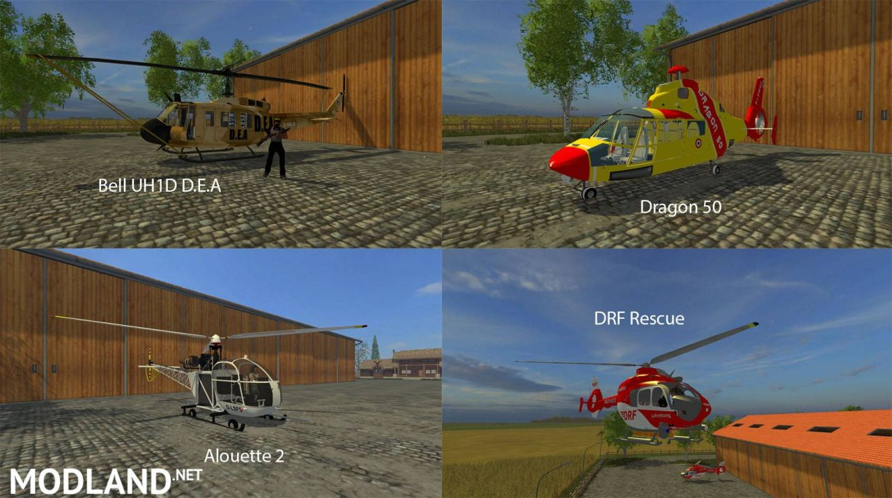 FS15 Big Mods Pack 9 Helicopters Pack