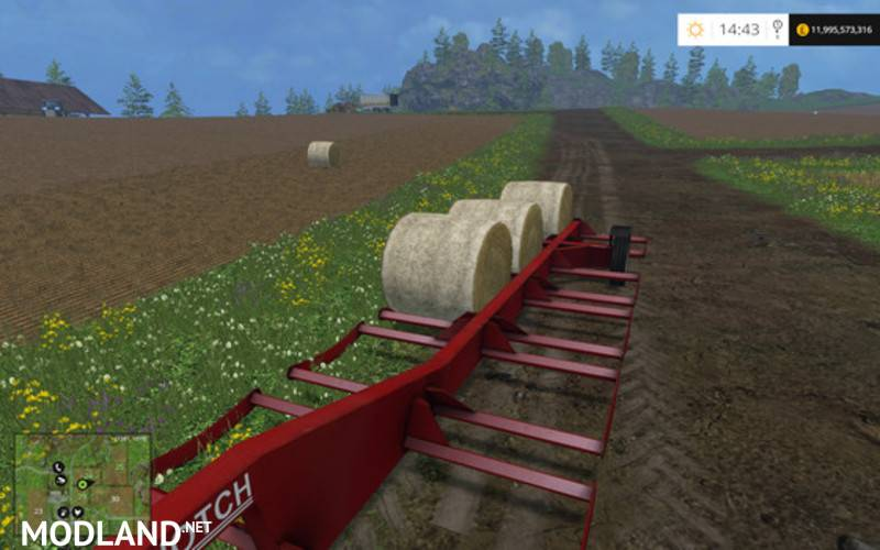Notch Round Bale Trailer Mod For Farming Simulator 2015