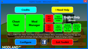 FS 2015 Toolkit Incl. Cheat Tool, 1 photo