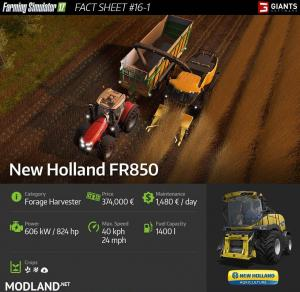 New Holland FR850 in the FS 2017