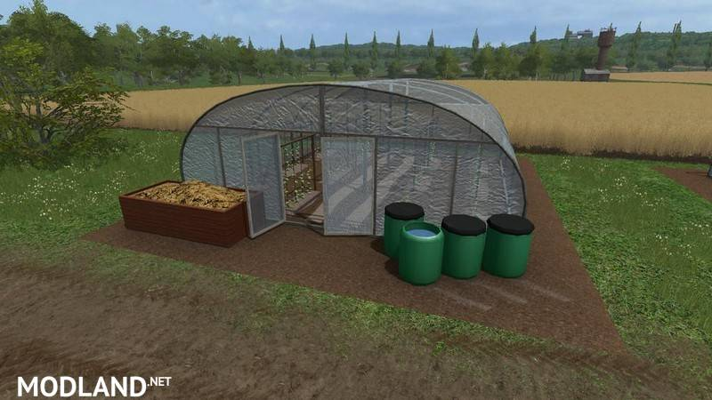 Greenhouse with cucumbers