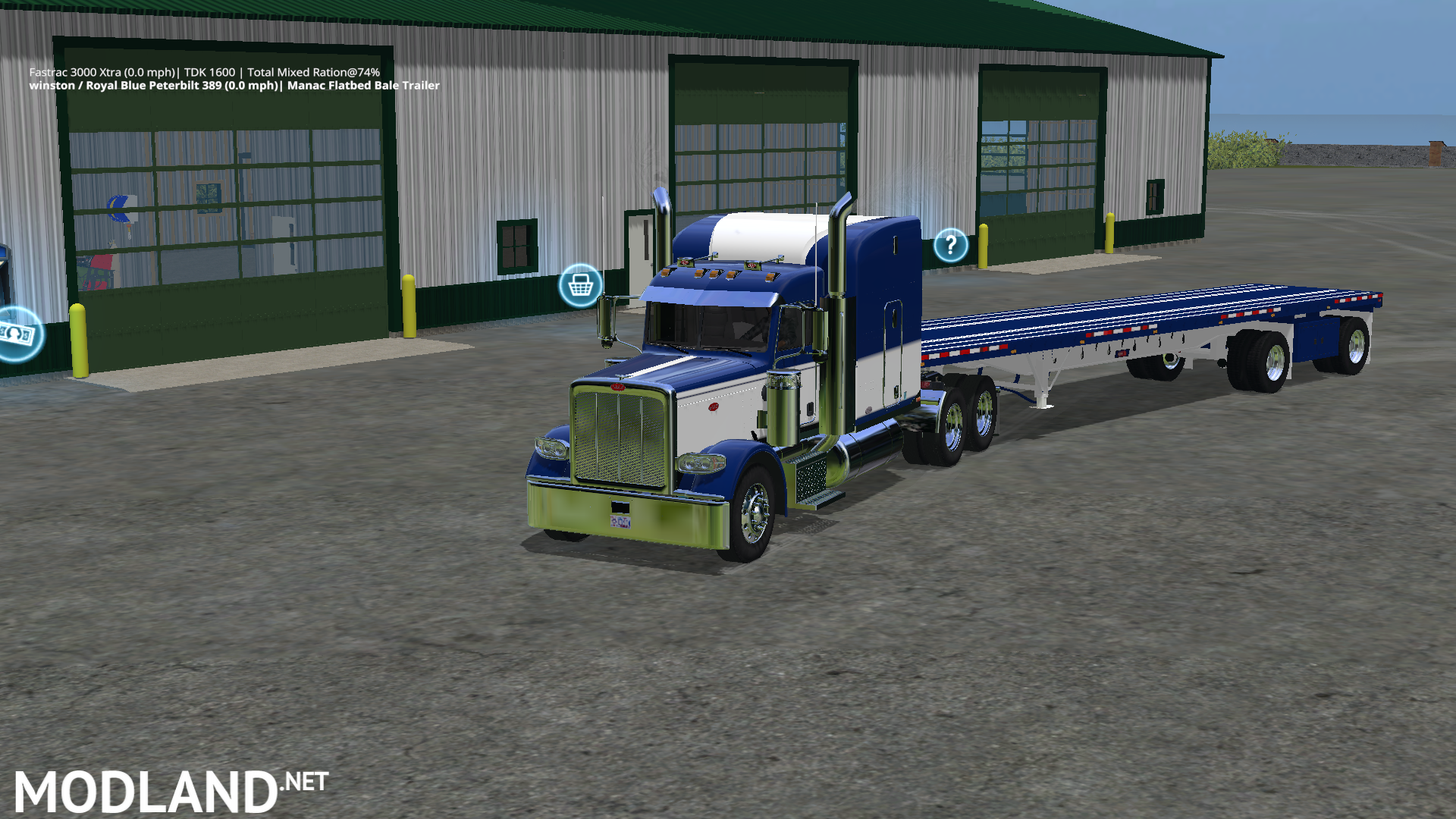 Peterbilt 388 Truck and Manic Flatbed Trailer mod Farming