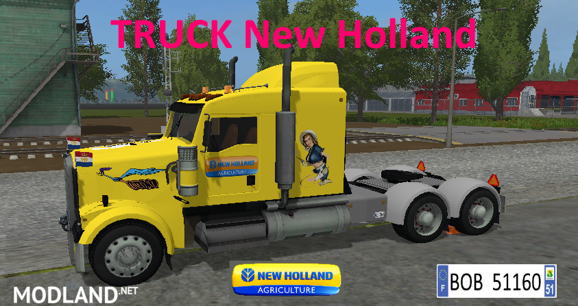 TRUCK + TRAILER YELLOW NEW HOLLAND BY BOB51160