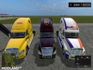 Fs17 Freightliner Cascadia DHL, UPS , FedEx semi, 6 photo