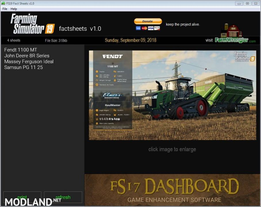 FS19 Factsheet Software
