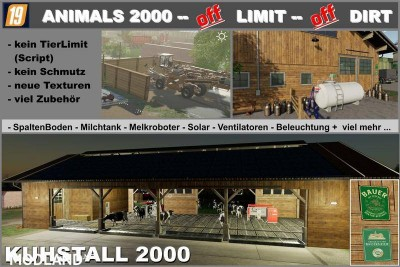 Cowshed 2000 without animal limit + no pollution + accessories v 1.3, 1 photo