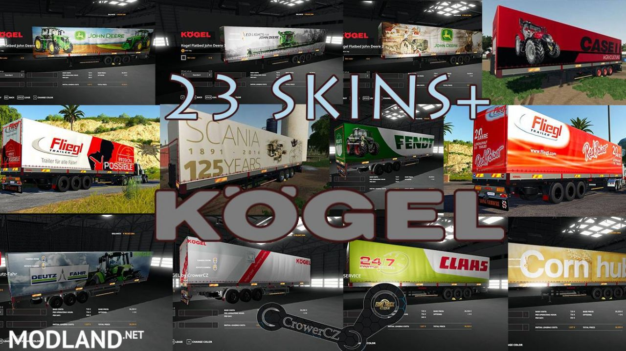 FS 19 KOGEL AUTOLOADER PACK TRAILERS 23+ SKINS BY CROWERCZ