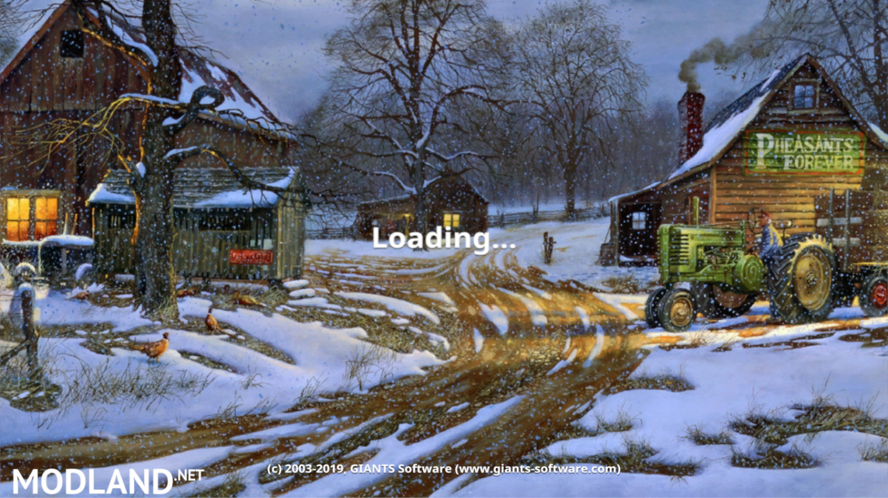 FS19 WINTER NIGHT FARM MENU BACKGROUND