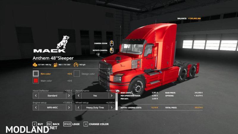 Net Direct Trucks >> 2018 Mack Anthem 48 Sleeper v 1.0