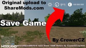 FS 19 SAVE GAME 100M DOLLARS $