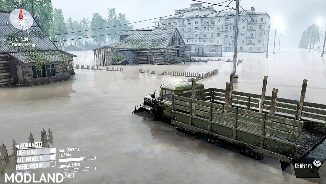 "Map "" gebanjiran "" for Spintires: Mudrunner"