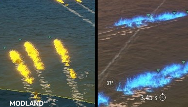 """Turquoise-S"" Improved visibility of torpedoes for WoWs 0.7.2"